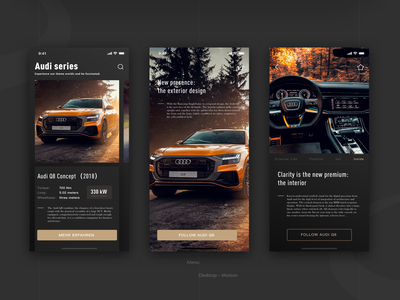 Audi introduction page ux audi ios android ui design car