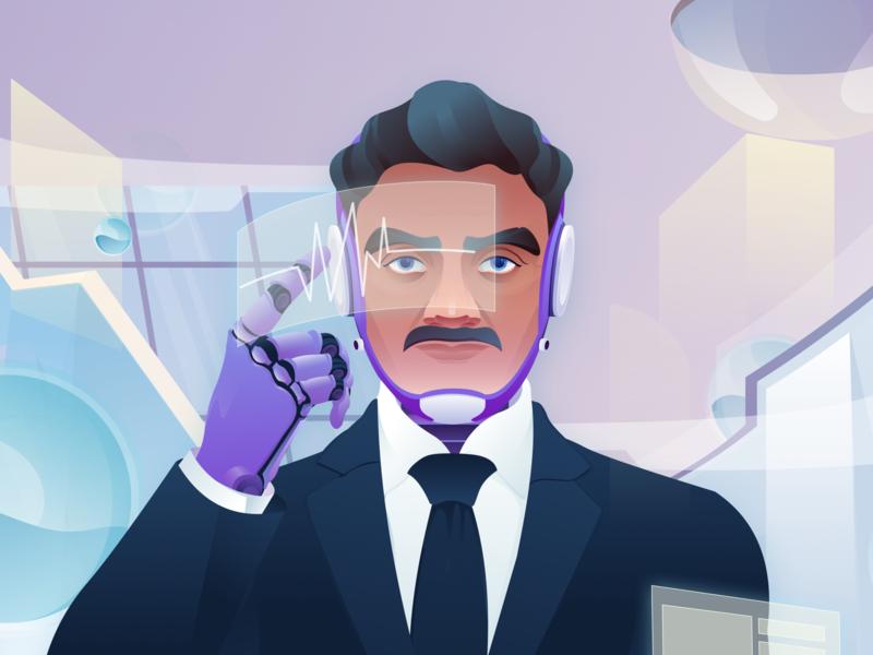 The future world of science and technology-02 man boy technology art illuminate illustrations color illustration design ui
