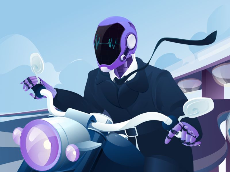 The future world of science and technology-03 ride driver moto robot art color android illustration design ui