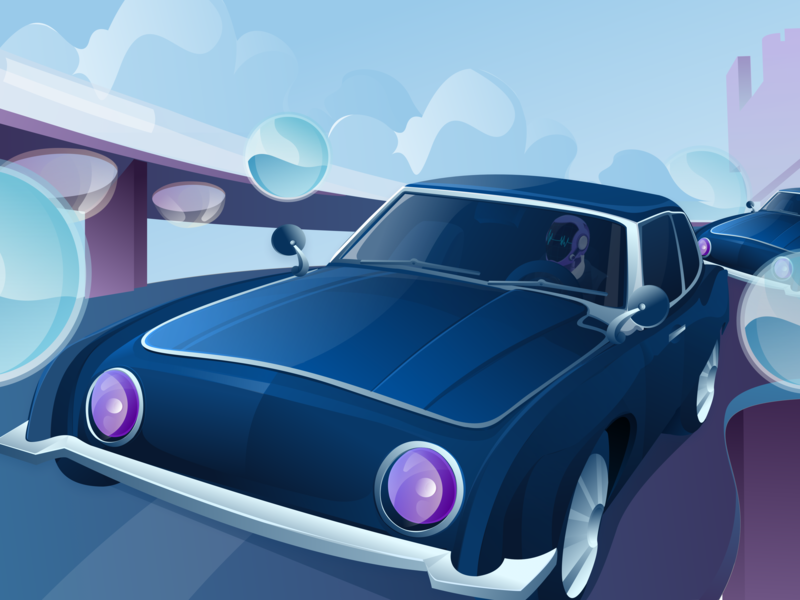 The future world of science and technology-04 car science art illustrations illustration ui
