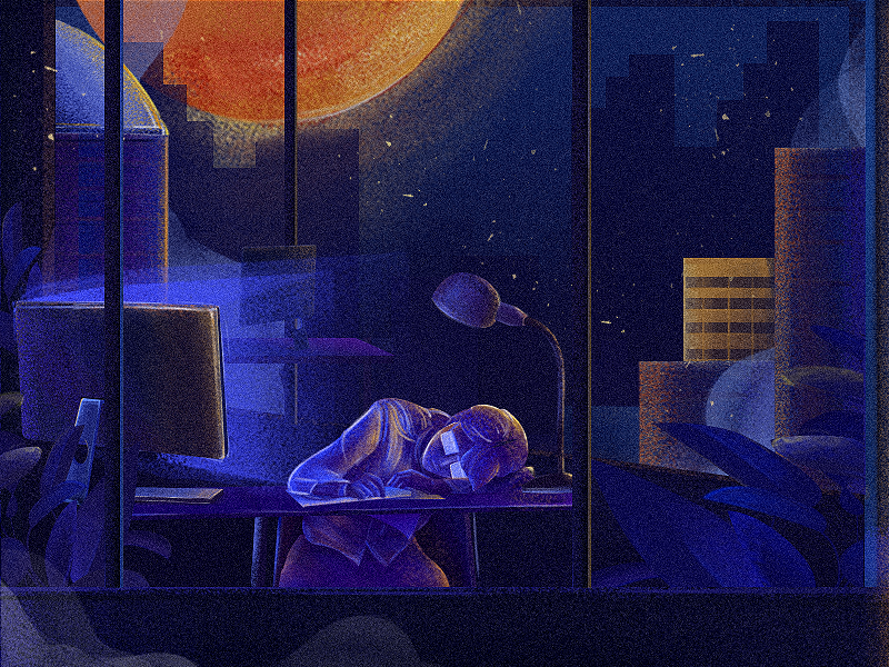 Before dawn-03 art style design blue night work girl color illustrations illustration