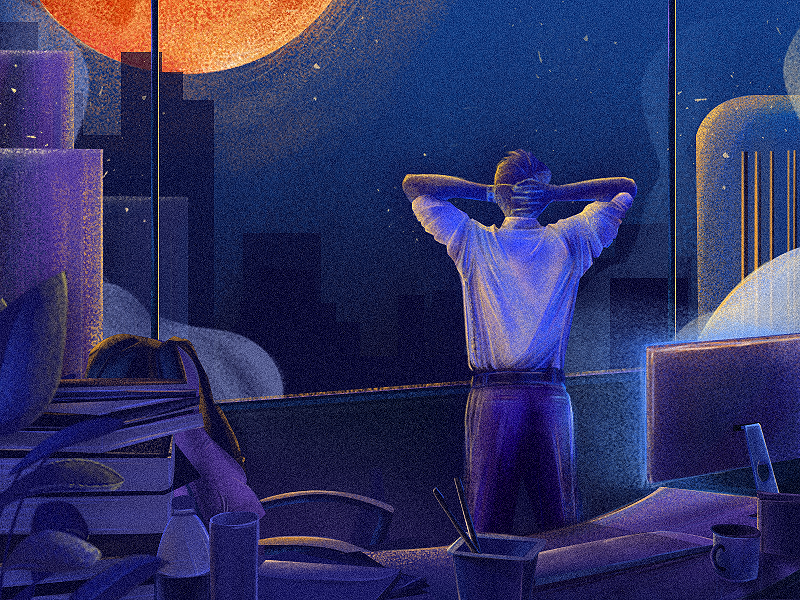 Before dawn-05 style blue dribbble art boy design color illustrations illustration