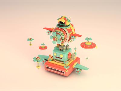 Aircraft playground branding c4d 3d animation 3d art illustration