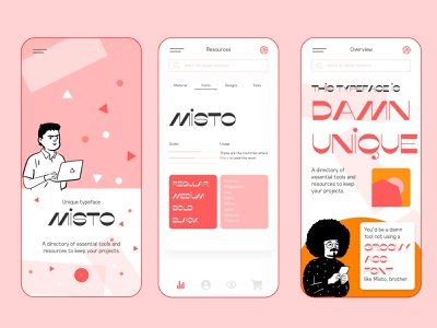 Rebound - Mobile App Concept for UI Designers uiux uidesigner clean ui typography task tab mobile app character design. mobile game minimal labs ios interface illustration icon geometry fontself clean design clean character design app