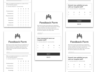 Mobile App Feedback Form Design - Wireframes