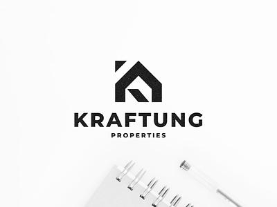 Kraftung Properties illustration branding minimal icon vector design house home realestate symbol lettermark lettering monogram logo property