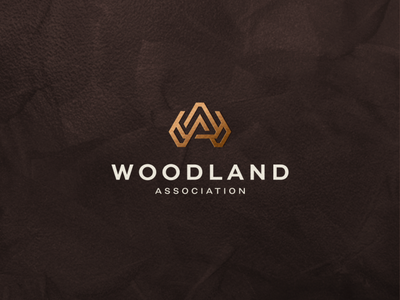 Woodland Association app lettermark character branding lettering vector symbol logo design luxury logo luxury monogram wa