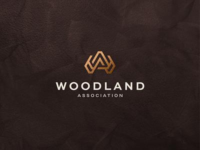Woodland Association app lettermark character branding lettering vector symbol logo design luxury logo luxury monogram wa