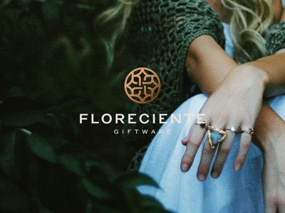 Florenciente Giftware minimal character gems beautiful branding icon vector symbol design logo jewelry ring giftware