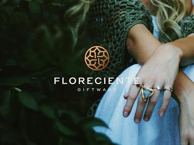 Florenciente Giftware minimal character gems beautiful branding icon vector symbol design logo jewelry ring giftware