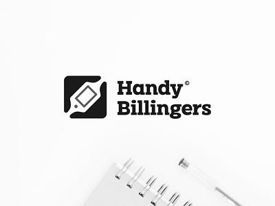 Handy Billingers branding character abstract monogram icon vector symbol design logo repairing smartphone hand