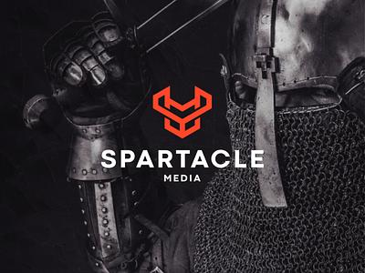 Spartacle Media minimal lettermark abstract icon vector symbol design logo sparta viking logo knight viking spartan