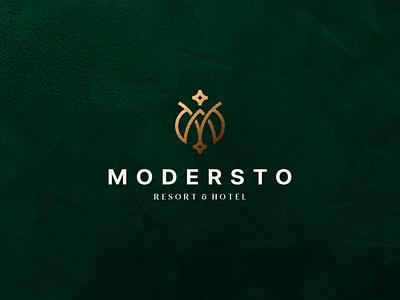 Modersto - Resort & Hotel icon abstract lettermark vector symbol hotellogo design logo minimal luxurylogo luxury monogram m