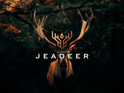 JEADEER illustration branding vector deer logo deerlogo wild symbol character design logo antelope gazelle horn deer