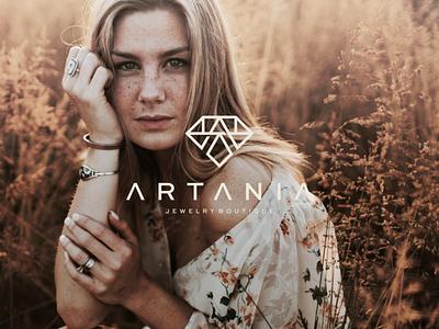 Artania - Jewelry Boutique logomark ux ui illustration character branding icon vector symbol design logo diamond jewelry