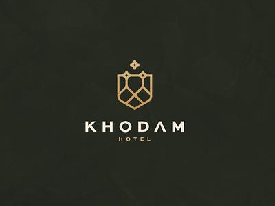 Khodam Hotel illustration character branding icon vector symbol design logo resort dubai uea luxury hotel
