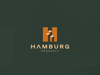 Hamburg Property illustration character branding icon vector symbol design hletter logotype logo hamburg apartment building realestate property combinationlogo monogram hlogo