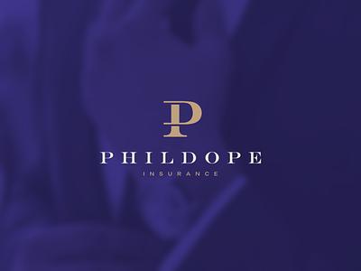 Phildope Insurance accounting business mark character branding icon vector symbol logo logogram logomark design logotype monogram plogo pi