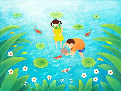 Childhood memories pond fish childhood graphical illustrations