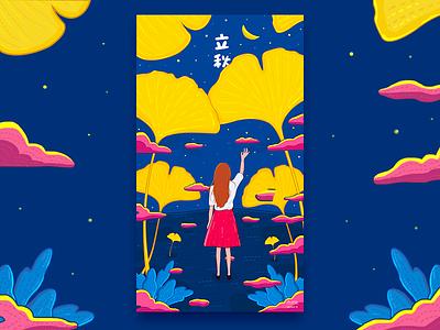 Fall in autumn girl ginkgo illustrations autumn