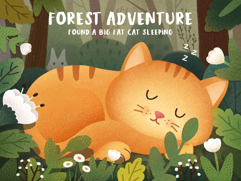 Forest Adventure cat children illustration ui forest story graphical illustrations