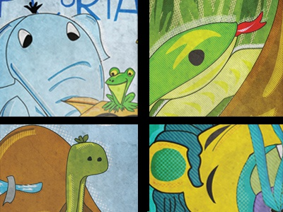 Zoopsters posters snake elephant frog toad turtle lion zoo promotional illustration class school design