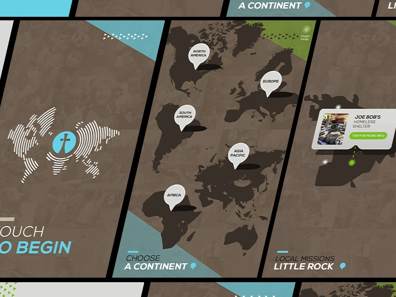 Fellowship Interactive Touch Screen Map UI church touchscreen world map map ux ui