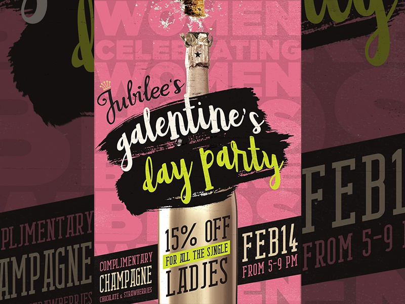 Galentines Day Poster Design illustration graphic design print ad event party champagne popart pop pink design poster