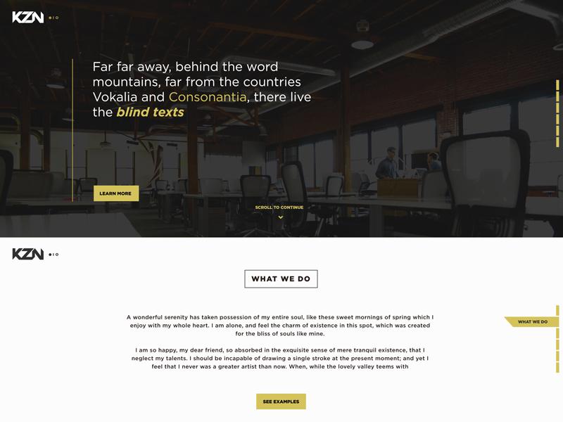 KZN Web Mock corporate modern clean bw ux ui design web