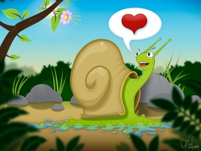 Snail In Love - Updated character illustration love snail