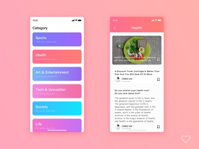 News category content page news news app 设计 应用界面