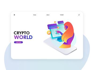 Futuristic cryptocurrency illustration exercise Page 04 未来科技 加密货币 区块链 页面 插图 应用界面