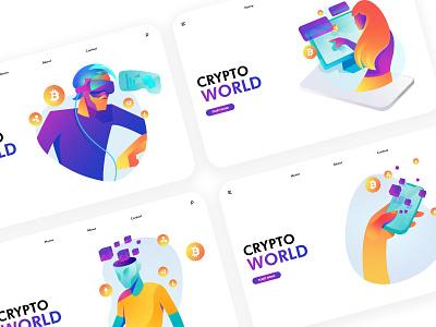 Futuristic cryptocurrency illustrator combination display 科技感 加密货币 区块链 页面 插图 应用界面