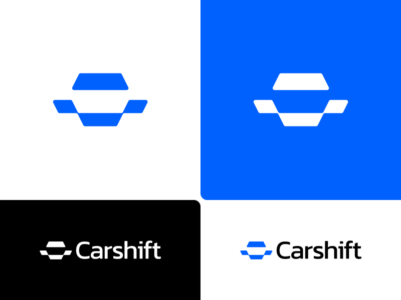 Carshift – Logo Design // For SALE connections hexagon forsale shift share brand blue icon abstract front face car design sign mark logotype logo