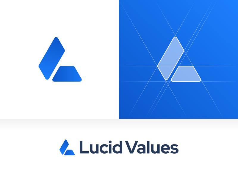 Lucid Values – Logo Design startup modern grids rounded corners blue job board recruitment value lv lucid design vector colors branding sign mark logotype logo