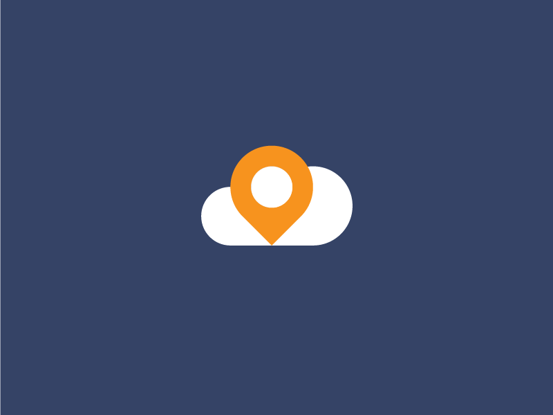 Pin + Cloud pin location cloud logo mark sign icon flat sale