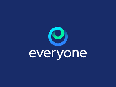 Everyone – Logo Design teal blue green shadow brand circle colors gradient social media stream e everyone branding sign mark logotype logo