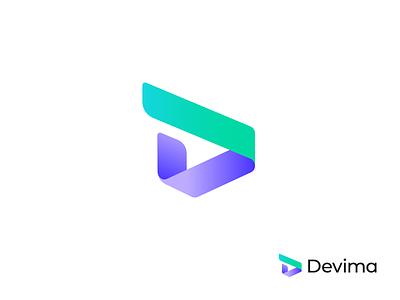 Devima – Logo Design triangle rounded green purple gradient colors software sign mark branding design logotype logo fold