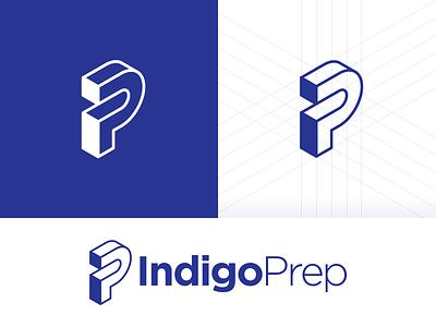 IndigoPrep initials prep indigo education grids grid logo lines isometric p i ip logo logotype