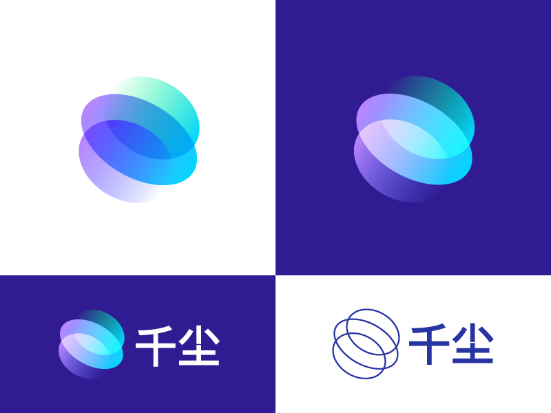VR / AR logo design // For SALE multiply dust thousand big data artificial intelligence ar vr opacity fade swirls vector design gradient colors star circle chinese mark logotype logo
