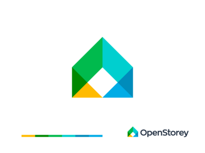 OpenStorey design house icon real estate agency real estate modern grid colorful storey open multiply overlay squares geometic color sign logo logotype house design home house