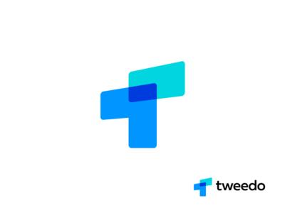 Tweedo contact management app arrow up overlay overlap vector multiply icon colors logotype design grid color sign mark logo t tweedo