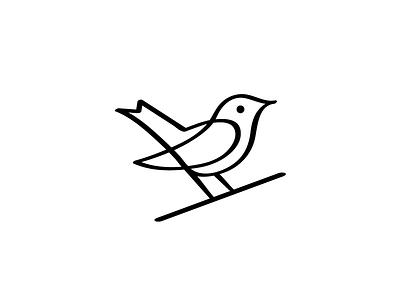Nightingale Logo // For SALE sign design vector illustration wing black nature monoline logotype mark logo line bird nightingale