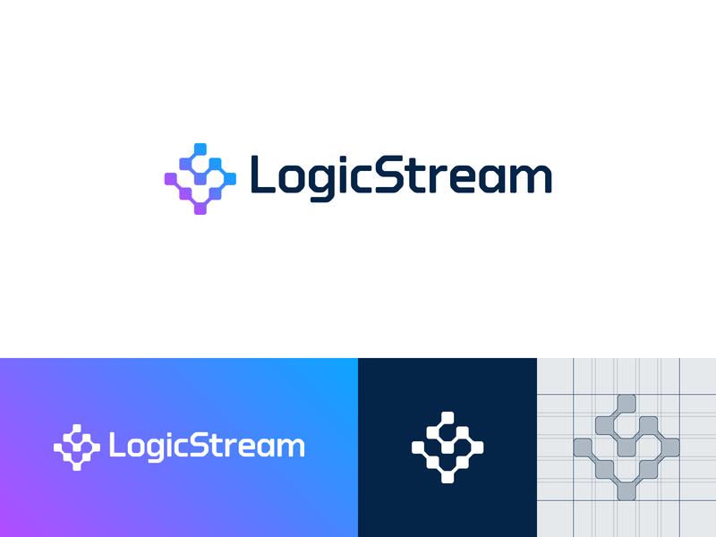 LogicStream — Logo Design branding icon ls stream logic guide gradient crypto colors grid color design sign mark logotype logo