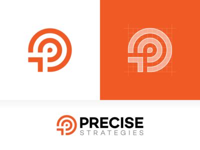Precise — Logo Design design icon consulting risk strategy orange branding vector circle grid mark sign logotype logo target p