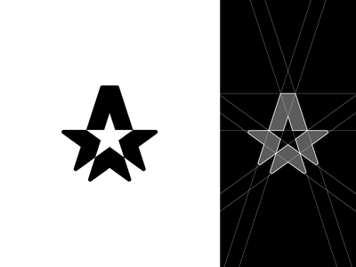 A-Star Logo logotype arrows america proportions golden ratio perfect geometic guides grids branding icon vector grid design sign mark logo star a