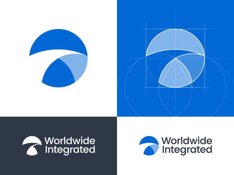 Worldwide Integrated — Logo Design connected integration planet worldwide sign mark crypto circle blue shadow geometic perfect bridge icon vector grid branding design logo logotype