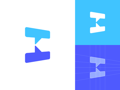 K + Chat Bubbles — Logo Design // For SALE colors grid dialog negative space communication bubbles chat branding vector icon sign mark logo