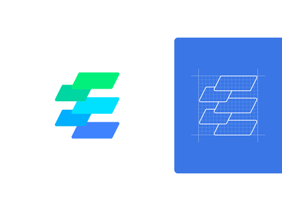 E — Logo Design web software for sale logomark vector branding icon colors grid sign mark logo edges edge