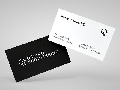 Ospino Engineering - Business Cards brand brandforma minimal minimalism style engineering black and white black design sign logo logotype business cards business card branding